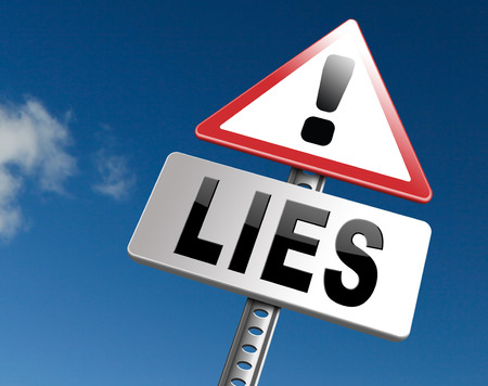 Lies breaking promise break promises cheating and deception lying, road sign billboard. Stock Photo