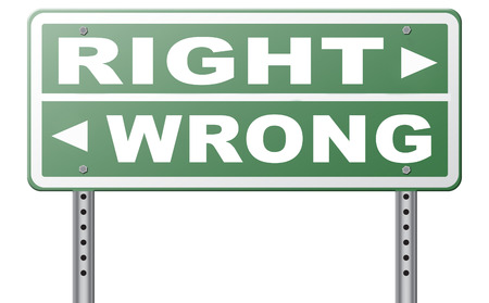 morally: right wrong answer decision morally good or bad moral dilemma difficult choice or quiz and exam results choose your way road sign arrow Stock Photo