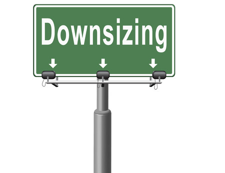 downsized: Downsizing firing workers jobs cuts job loss reorganization crisis recession, road sign billboard. Stock Photo