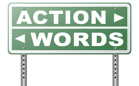 mister: action words the time to act is now or never mister big mouth last stop showing off Stock Photo