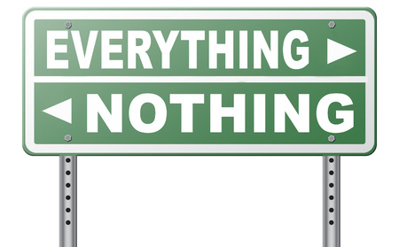 risky: everything or nothing take it all or leave it risky bet risk to lose road sign arrow