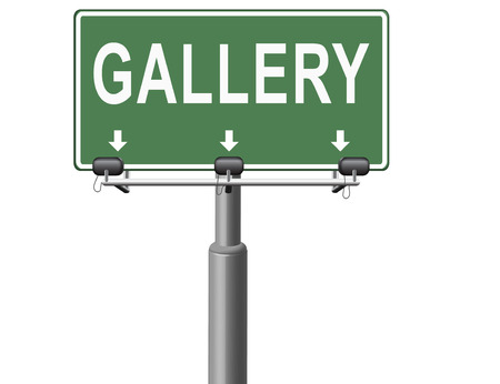 art exhibition: gallery wall of picture and image and art exhibition, road sign billboard