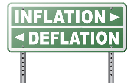 economic recession: inflation deflation bank crisis or financial and economic recession or stock market crash or rise sign