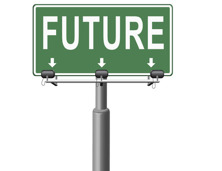 future vision: Future vision futuristic, road sign billboard. Stock Photo