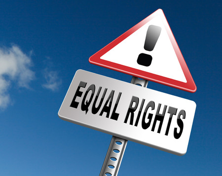 equal rights: Equal rights no discrimination and same opportunities for all women man disabled black and white solidarity discrimination of people with disability or physical and mental handicap, road sign billboard. Stock Photo