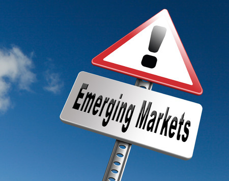emerging economy: Emerging market new fast growing economy frantic economies, road sign billboard. Stock Photo