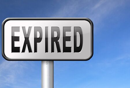 expiration: expired sign expiration over date for expired product or food Stock Photo