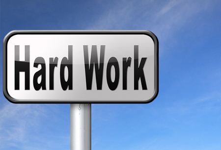important sign: Hard work busy with important job working sign. Stock Photo