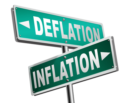 stock market crash: inflation deflation bank crisis or financial and economic recession or stock market crash or rise sign