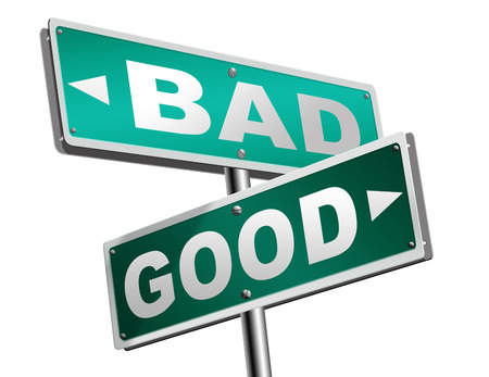 good bad a moral dilemma about values and principles right or wrong evil or honest ethics legal or illegal road sign arrow Stock Photo
