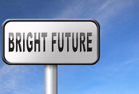 brighter: bright future ahead planning a happy future having a good plan road sign with text and word concept
