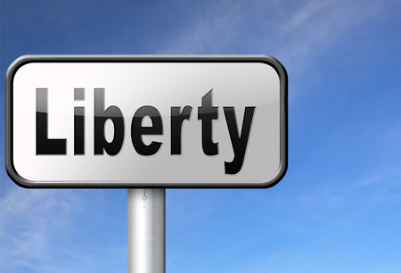 free speech: Liberty freedom, democracy and human rights free of speech, road sign billboard.