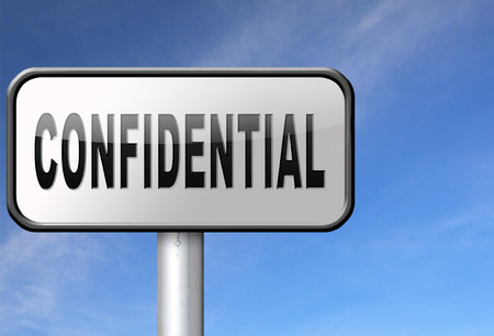 personal information: confidential top secret classified personal information, road sign billboard.