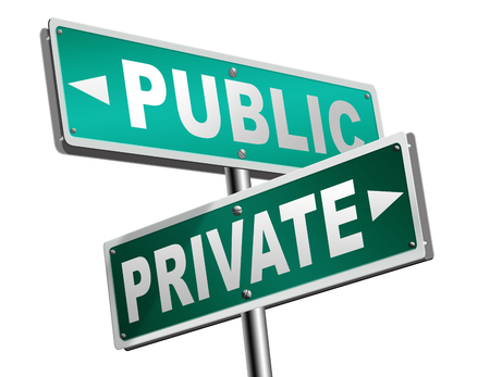 public hospital: public or private school hospital area property domain or insurance road sign Stock Photo