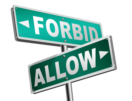 permission granted: allow or forbid asking permission according to regulations granted or declined follow house rules sign