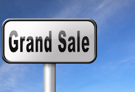 reduced: Grand sale, sales and reduced prices and sellout, billboard road sign.