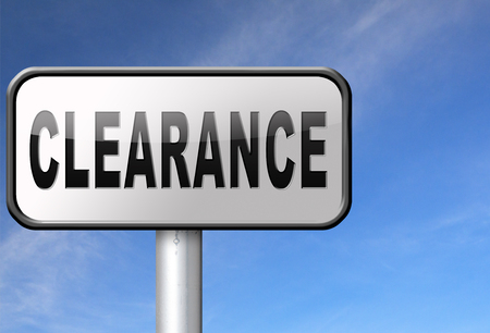 authorization: clearance grand sale sales and reduced prices % off authorization granted or denied by bill computer and information security Stock Photo