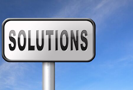 solve problems: solutions solve problems and search and find a solution road sign billboard