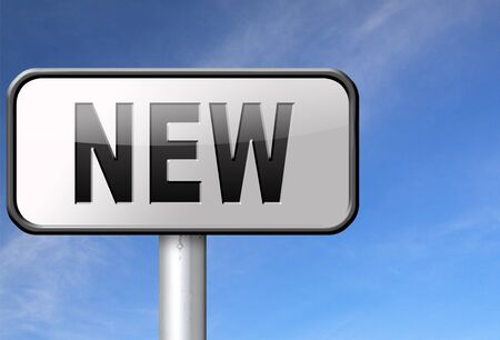 newest: New button or icon latest and newest brand of product available now Stock Photo