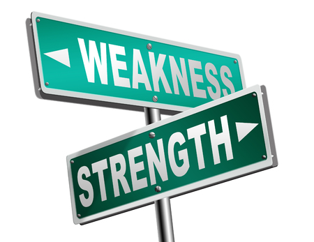 weakness: strength or weakness being strong or weak overcome problems accept the challenge to success