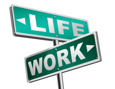 workaholic: work life balance burnout stress test importance of career versus family leisure time and friends workaholic road sign arrow