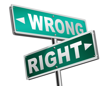 right wrong answer decision morally good or bad moral dilemma difficult choice or quiz and exam results choose your way road sign arrow Stock Photo