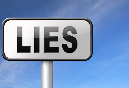 dishonesty: Lies breaking promise break promises cheating and deception lying, road sign billboard. Stock Photo