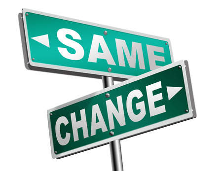 malos habitos: change same repeat the old or innovate and go for progress in your life career or a new relationship break with bad habits stagnation or improvement and evolution road sign