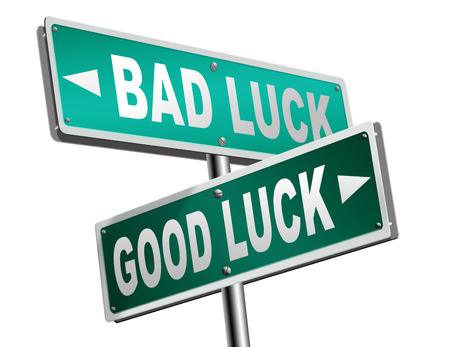 bad fortune: change of luck good or bad, unlucky misfortune or good fortune road sign arrow