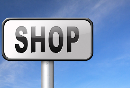 webshop: Shop now sign go to the online webshop road sign, internet web shopping billboard