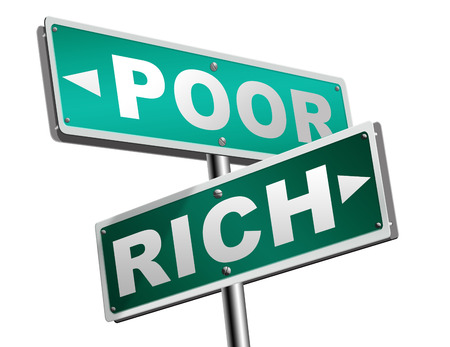 bad fortune: rich or poor take financial risk live in wealth good or bad luck and change fortune wealthy or poverty  road sign arrow