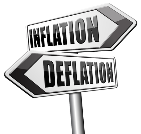 bank crisis: inflation deflation bank crisis or financial and economic recession or stock market rise sign Stock Photo