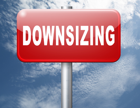 downsize: Downsizing firing workers jobs cuts job loss reorganization crisis recession, road sign billboard. Stock Photo