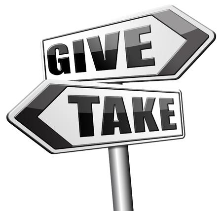 generous: dar a tomar para la caridad y el altruismo hacer una contribución o donación y donación generosa y donar a regañadientes barato Foto de archivo
