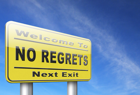 ashamed: Regret or no regrets saying sorry and offer apologize being ashamed for bad decisions Stock Photo