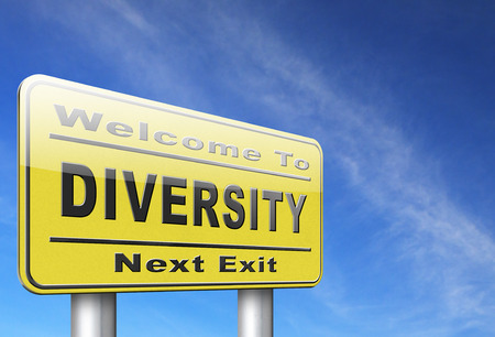 multi age: Diversity towards diversification in culture ethnic social age gender genetics political issues, road sign billboard.