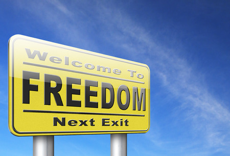 sovereignty: freedom peaceful free life without restrictions and peace democracy, road sign billboard.