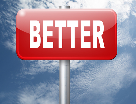 new and improved: Better and improved, improvement and higher quality, new edition, road sign billboard. Stock Photo