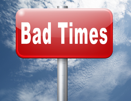 bad times: Bad times no luck because of misfortune crisis unlucky day ahead problems in near future warning for big troubles Stock Photo