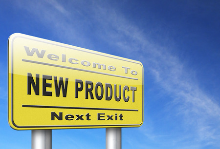 product innovation: new product coming soon announcement arriving and available soon advertising news, road sign, billboard.