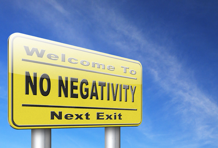 but think: stop negativity and pessimism, no pessimistic thoughts dont think negative but positive and optimistic thinking makes you happy Stock Photo