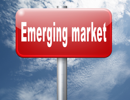 emerging market: Emerging market new fast growing economy frantic economies, road sign billboard. Stock Photo