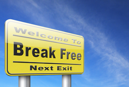 break the rules: Break free from prison, pressure or quit job, stop running away and go towards stress free world no rules,road sign billboard.