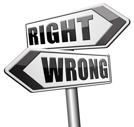 morally: right wrong answer decision morally good or bad moral dilemma or quiz and exam results choose your way Stock Photo