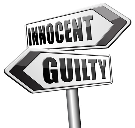 suspect: innocent or guilty presumption of innocence until proven guilt as charged in a fair trial for crime suspect
