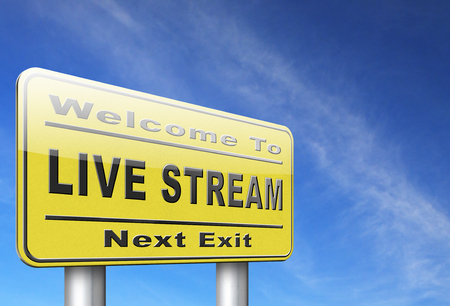 live stream listening: live stream music song audio or listen to radio streaming road sign billboard video or movie
