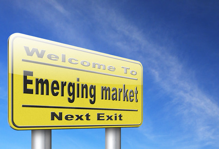 emerging markets: Emerging market new fast growing economy frantic economies, road sign billboard. Stock Photo