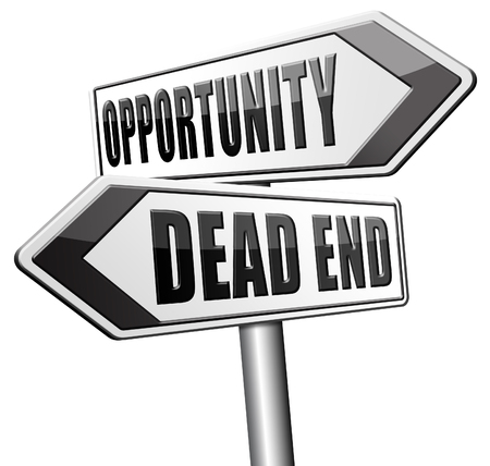dead end: opportunity or dead end with no future find a better choice for business way or road towards success or disaster Stock Photo