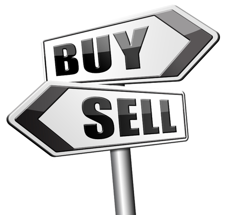 buy sell: buy or sell house buying or selling on stock market exchange international trade road sign text