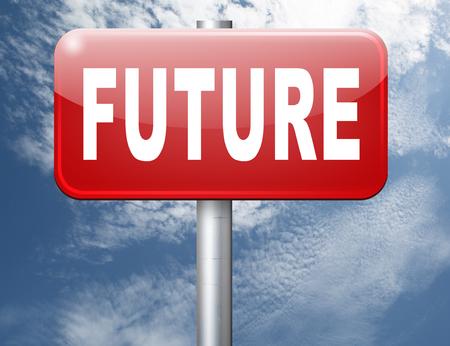future vision: Future vision futuristic, road sign billboard. Foto de archivo